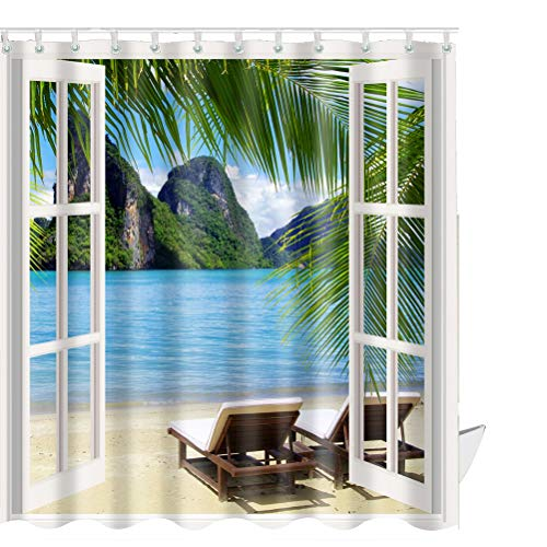 ABxinyoule 3D Window Palm Beach Shower Curtain Recliners Landscape Scenery Waterproof Fabric Polyester Set with - Recliner Fabric Set