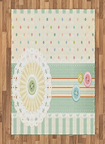 Ambesonne Shabby Chic Area Rug, Sewing Theme Border with Button Floral Patch Traditional Lace Like Dots Print, Flat Woven Accent Rug for Living Room Bedroom Dining Room, 4 X 5.7 FT, Multicolor ()