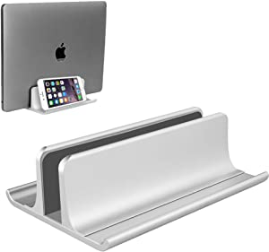 Vertical Laptop Stand Holder Adjustable Desktop Notebook Dock Space-Saving Three-in-one for All MacBook Pro Air, Mac,HP, Dell, Microsoft Surface,Lenovo, up to 17.3 inch Silver