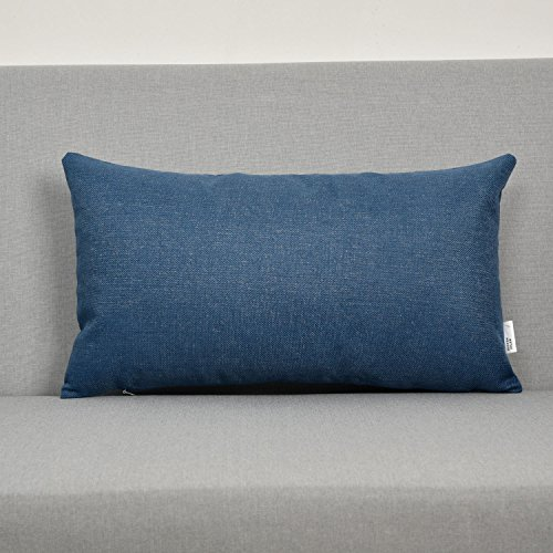 Natus Weaver Decoration Lumbar Linen Burlap Decor Square Throw Cushion Cover Pillow Sham for Sofa , Navy , 12 x 20 (Lumbar Pillow Cover)