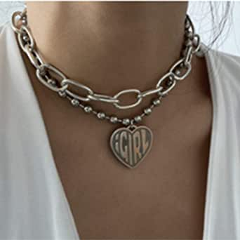 YERTTER Bohemian Dainty Layered Chunky Beads Choker Necklaces Heart Pendant Double layer Adjustable Layering Chain Sliver Plated Necklaces Set for Women Girls