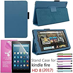 """Amazon Fire HD 8"""" 2017 Case, EpicGadget(TM) Auto Sleep/Wake 7th Gen Fire HD 8 PU Leather Folding Folio Case with Built in Stand For Fire HD 8 inch (2017 Release) + 1 Screen Film + 1 Pen (Navy Blue)"""