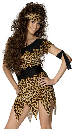 Smiffy's Women's Cavewoman Costume Leopard Print with Tunic Belt Head and Armband, Beige, (Prehistoric Dress)