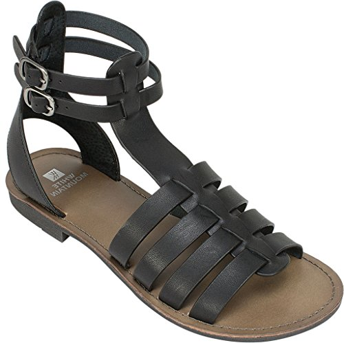 White Mountain Frauen Flache Sandalen Black