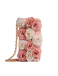 Leather Wallet Case iPhone 6 Plus,iPhone 6S Plus Women HandBag Case with Chian,Gostyle Fashionable Luxury Pink Rose Flower Pattern PU Flip Magnetic Case with Credit Card Holder and Wristlet Strap.