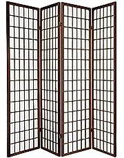 Oriental Furniture Asian Furniture, 6-Feet Window Pane Japanese Shoji Privacy Screen Room Divider, 4 Panel Walnut