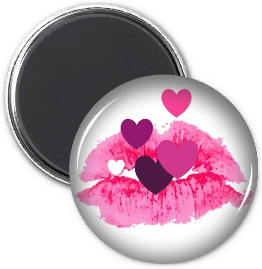Pink Lip Hearts Valentine's Day Circle Refrigerator Magnet Badge 3pcs