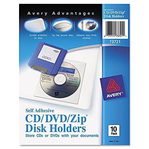 Avery Self-Adhesive CD/DVD/Zip Pockets, Pack of 10 (73721) (Self Cd Pockets Adhesive)
