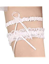 AZDRESS Lace Wedding Bridal Garter with Flower Pearl Bowknot - Set of 2