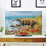 LCD TV dust Cover Strong Durability,Flower,Coastal Seascape and Poppies on The Cliffs High Above The Bay Image Print,Red Peach Dark Green,Picture Print Design Compatible 65'' TV