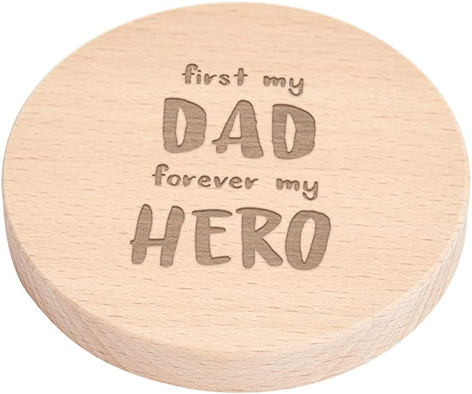 First My Dad Forever My Hero Wooden Engraved Best Dad Coaster Dad Engraved Gifts From Daughter Or Son Dad Birthday Gifts Best Dad Gifts Home Kitchen Amazon Com