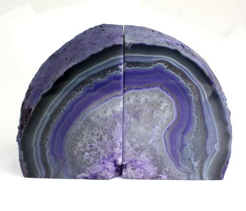 Crystal Allies Gallery: Pair of Small Polished Agate Geode Halves Bookends w/Authentic Stone Card - 1lb to 3lb