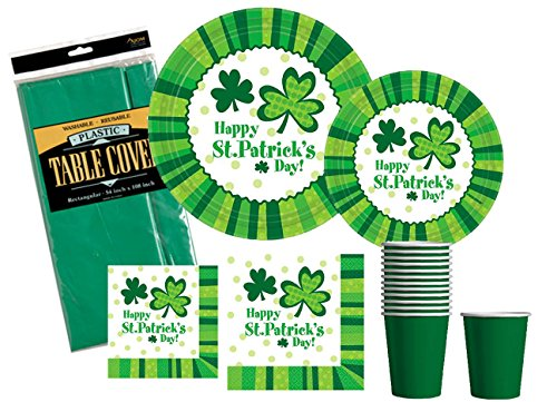 St Patricks Day Party Supplies Pack - St Pat's Cheer - Premium Dinner Plates, Dessert Plates, Cups, Napkins and Table Cover Bundle (Serves (Cheers And Beers Costume)