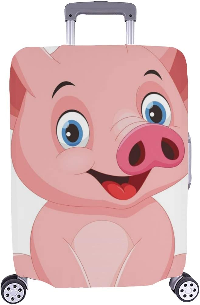 Cute Cartoon Pig Pink Spandex Trolley Case Travel Luggage Protector Suitcase Cover 28.5 X 20.5 Inch