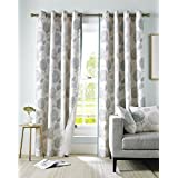 Duck Egg Blue, Grey and Cream Floral Curtain Pair Contemporary Design Fully Lined Eyelet Header, 165 x 183 cm (64 x 72) by Homescapes