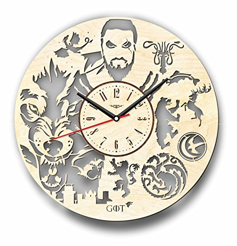 Cheap 7ArtsStudio Game of Thrones Wall Clock Khal Drogo Made of Wood – Perfect and Beautifully Cut – Decorate Your Home with Modern Art – Unique Gift for Him or Her – Size 12 Inches
