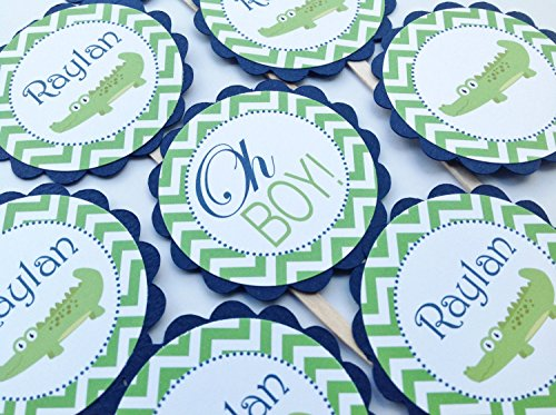 12 - Cupcake Toppers - Alligator Baby Shower Collection - Lime Green Chevron & Navy Blue and White Accents - Party Packs Available