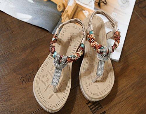 Abricot LIANGXIE élastiques Couleur élastique ZHHZZ Strass Coins d'été de Femmes Nouvelle Sandales Sandales Plage Solides x6wIq6Y7r
