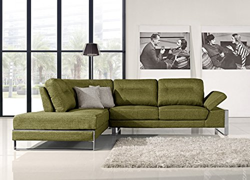 At Home USA - Verona Sectional L Shape Right Facing Sofa with Adjustable Back, Neomi Green (Verona Sectional)