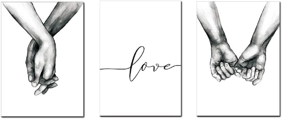 HERRA 16x20Inches/40 x50CM Wall Art for Bedroom Living Room Minimalist Black and White Canvas Print Poster Love Hand in Hand Sketch Art Line Paintings Home Decor(Set of 3 Unframed, 16x20 inches)