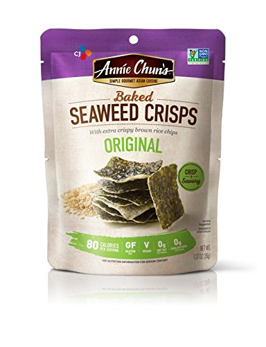 Annie Chun's Baked Seaweed Crisps, Original Flavor, Non-GMO, 1.27-ounce (10-Pack), Thin & Crispy Chips