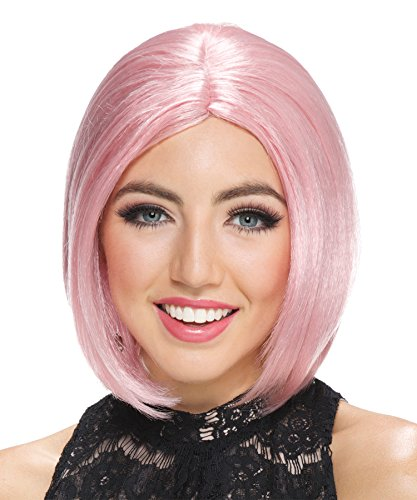 UHC Women's Frosted Midi Bob Rose Wig Pop Singer Halloween Costume Accessory