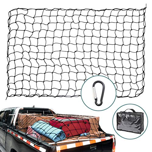 (GDAUTO 4'x6' Cargo Net Stretches to 8'x12' Heavy Duty Bungee Cargo Net for Truck Bed, Pickup Bed, Trailer, Trunk, SUV with 12 Tangle-Free D Clip Carabiners)