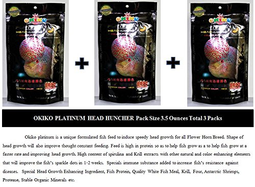 Flowerhorn Fish Food (3.5 Ounces (100 g), Pellets Size M Total 3 packs. Okiko platinum is a unique formulated fish feed to induce speedy head (Catfish Dog Costume)