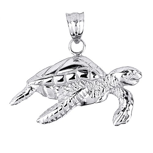 14k Solid White Gold Sea Turtle Charm Pendant - 14k Gold Sea Turtle Charm