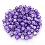 Navifoce Artistic Marble Design Various Color Round Loose Beads Lampwork Glass Bead for Jewelry Making Craft,8mm Diameter (Purple)