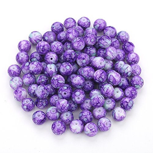 Navifoce Artistic Marble Design Various Color Round Loose Beads Lampwork Glass Bead for Jewelry Making Craft,8mm Diameter (Purple) ()