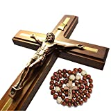 Handmade Crucifix Wall Cross - Wooden Catholic Crucifix - Hanging Crosses for Home Wall Decor - 12 inch