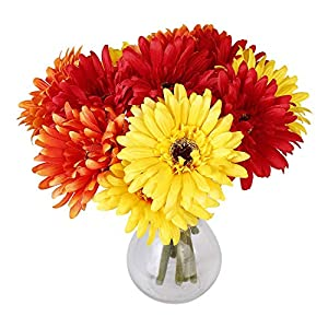 6PCS Artificial Flowers, 8.7'' Gerbera Daisies Silk Flowers Realistic Real Touch Fake Daisy Mum Flowers Chrysanthenum,Sunflowers Bouquet With Flocking Stems Gerber Daisy Fall Flowers for Home Decor 2