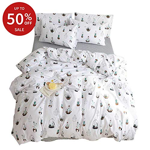 BuLuTu 3 Pieces Cactus Duvet Cover Set White Cotton,Lightweight Full/Queen Cacti Duvet Cover Boys Girls,Reversible Super Soft Teen Bedding Sets Queen White with Zipper Closure,No Comforter from BuLuTu