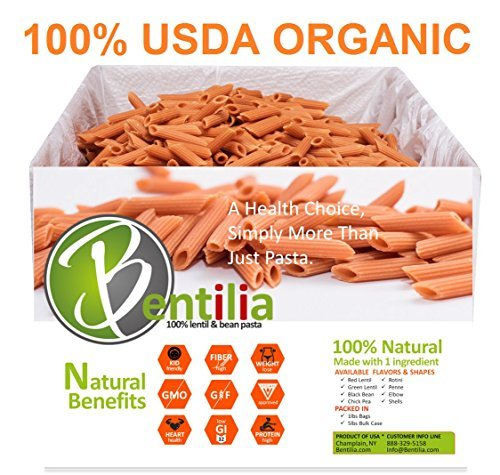 Bentilia Organic Lentil Pasta, Red Lentil Penne, 5 lb Bulk Case - 100% Natural, Low Glycemic Index, High Protein & Fiber, Non-GMO, Gluten Free Pasta (Penne Pasta)