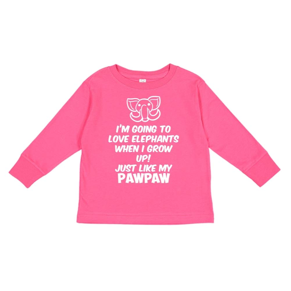 Im Going to Love Elephants When I Grow Up Just Like My Pawpaw Toddler//Kids Long Sleeve T-Shirt
