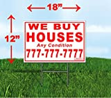 Custom We Buy Houses - 100 Red 12''x18'' Yard Signs