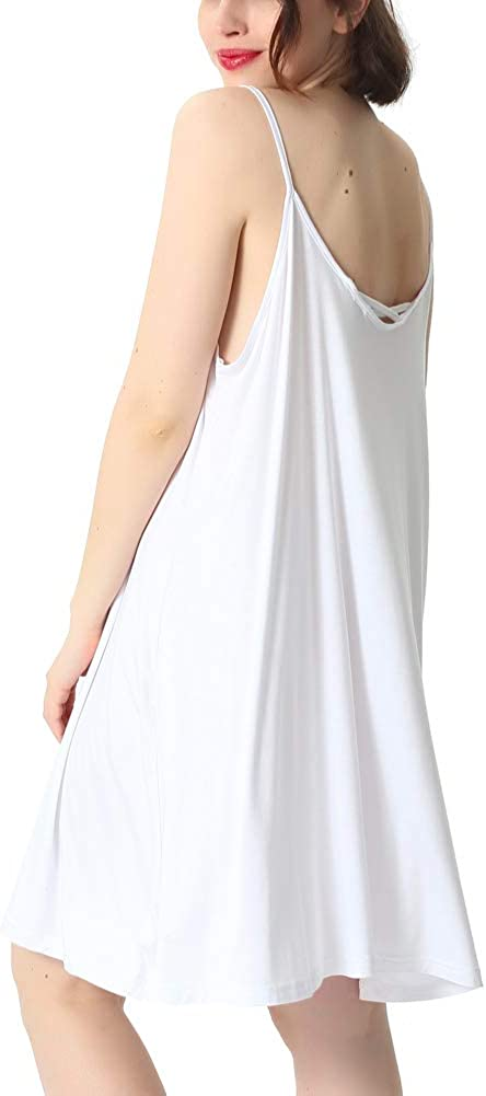 Womens Solid Full Slip Bamboo Nightgown Ultra Soft Under Dress with Adjustable Spaghetti Straps