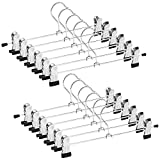 opuss Metal Skirt Hangers, 12 Pack Heavy Duty Pants Skirt Slack Hangers with Two Adjustable Non Slip Clips, Space Saving, 360 Degree Chrome Add-on Skirt/Slack Hanger for Children