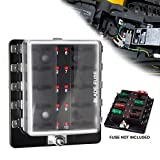 Liteway 10 Way Blade Fuse Holder Box 12-32V LED Illuminated Automotive Fuse Block for Car Boat Marine Trike with LED Warning Light Kit, 2 Years Warranty