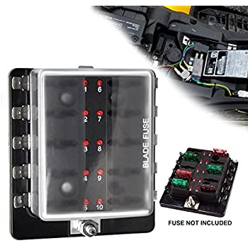 amazon com liteway 10 way blade fuse holder box 12 32v led Boat Electrical Wiring Diagrams boat fuse box not working