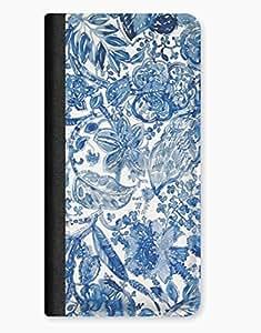 Blue Floral Flower Art iPhone 5/5s Leather Flip Case