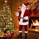 Santa Costume Santa Claus Costume Santa Deluxe Suit Santa Clause Costume Velvet Santa Adults Men with Santa Hat 6PCS Set