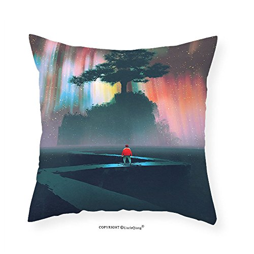 VROSELV Custom Cotton Linen Pillowcase Fantasy Art House Decor Man Begins a Journey on Winding Road to the Big Tree Universe Paint for Bedroom Living Room Dorm Multi - Quilt To Oklahoma Road
