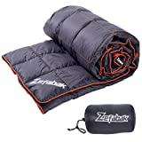 Down Blanket for Camping Indoor Outdoor by ZEFABAK Puffy 600 Fill Power Duck Down Cloudlet Blanket or Sleeping Bag Replacement,Down Filling Weight 11 OZ,with Reflective Logo, 80″ x 54″, Black