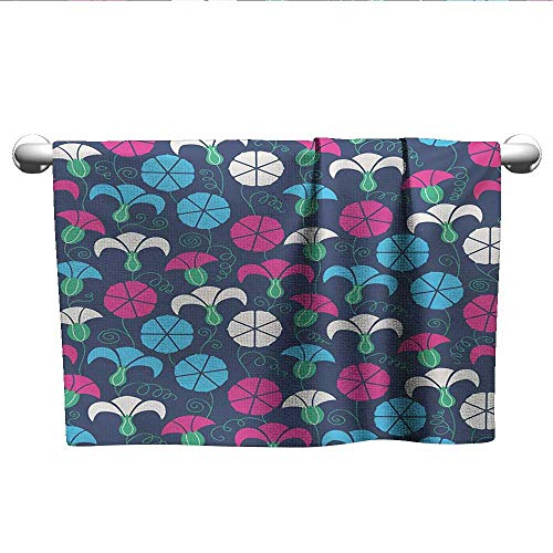 alisoso Flower,Sport Towels Colorful Silhouettes of Bindweed with Ornate Swirls and Curls on a Dark Background Absorbent and Super Soft Towels Multicolor W 28