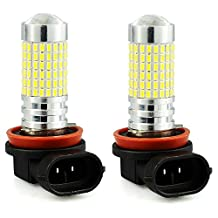 JDM ASTAR 1200 Lumens Extremely Bright 144-EX Chipsets H11 H8 LED Bulbs with Projector for DRL or Fog Lights, Xenon White