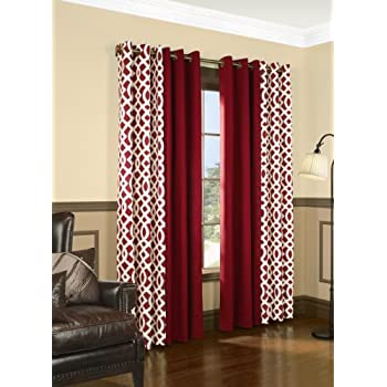 Amazon Com Thermalogic Trellis Red 80 Quot X 95 Quot Grommet Top