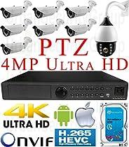 USG H.265 4MP Ultra 4K 8 Camera Security System PoE IP PTZ CCTV Kit: 1x 5MP 24 Channel NVR + 7x 4MP IP PoE 2.8-12mm Lens Bullet Camera + 1x 4MP IP PTZ 4.7-94mm Lens + 1x 4TB HDD View On Phone