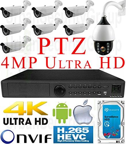 USG H.2654MP Ultra 4K 8sistema de seguridad cámara POE IP PTZ CCTV Kit: 1x 5MP 24Canal NVR + 7x 4MP IP POE...